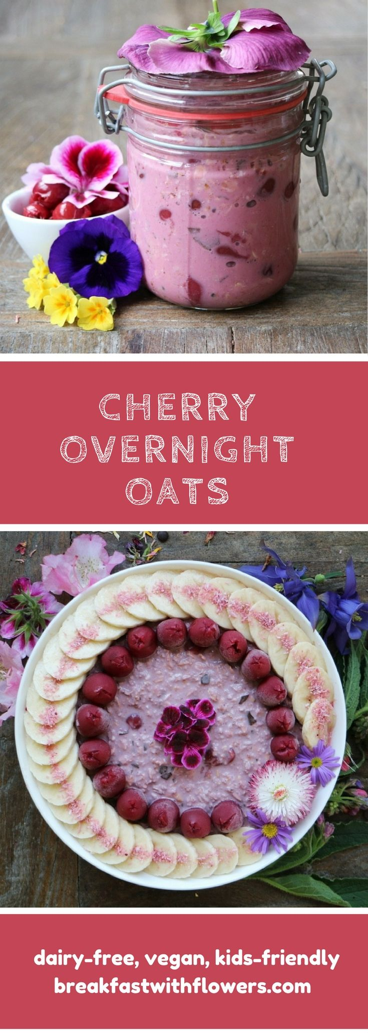 Cherry Overnight Oats with a sprinkle of dark chocolate. Vegan, kids-friendly. More recipes on breakfastwithflowers.com