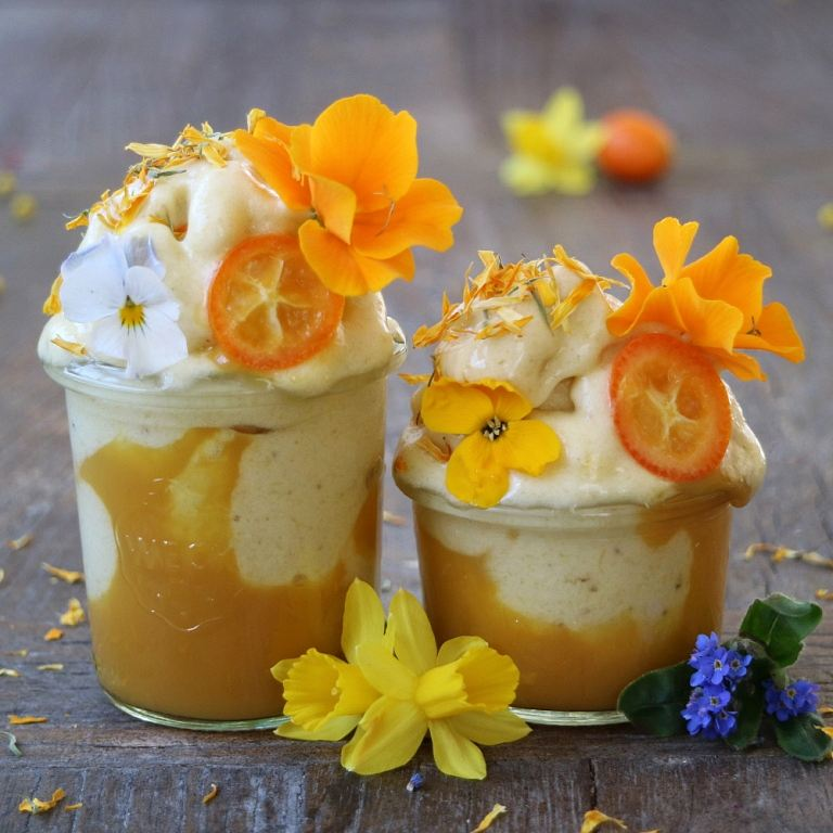 Exotic Nice Cream with pineapple and mango puree. More plant-based breakfast recipes on breakfastwithflowers.com