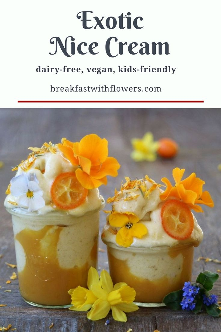 Exotic Nice Cream with pineapple and mango puree. More plant-based breakfast recipes on http://breakfastwithflowers.com