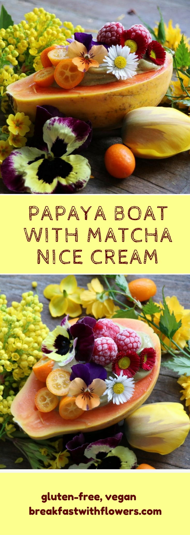 Papaya Boat with Matcha Nice Cream. Simple, two-ingredient recipes. Gluten-free, sugar-free, vegan. More recipes on breakfastwithflowers.com