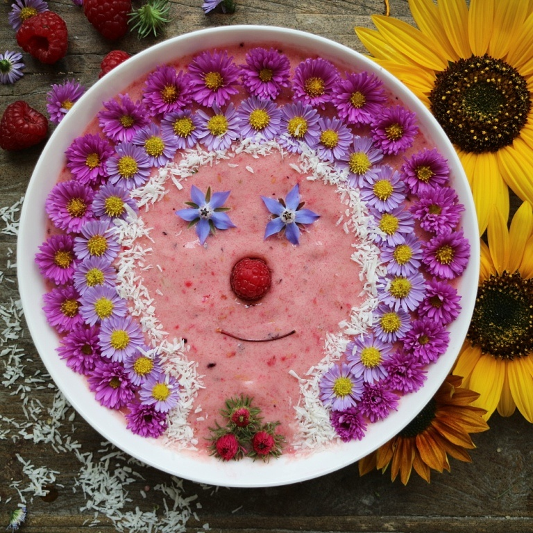 Raspberry Nice Cream with a face of edible flowers. More inspirations on breakfastwithflowers.com
