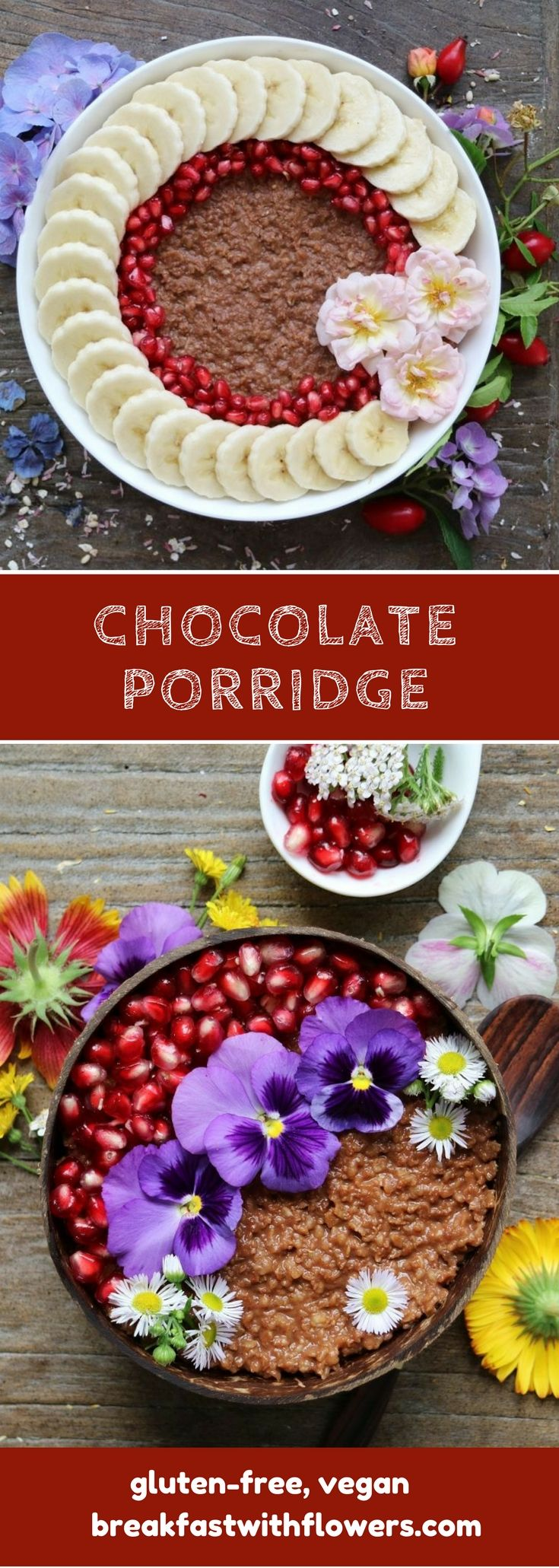 Creamy Chocolate Porridge with a hint of vanilla, decorated with edible flowers. More inspiration on breakfastwithflowers.com