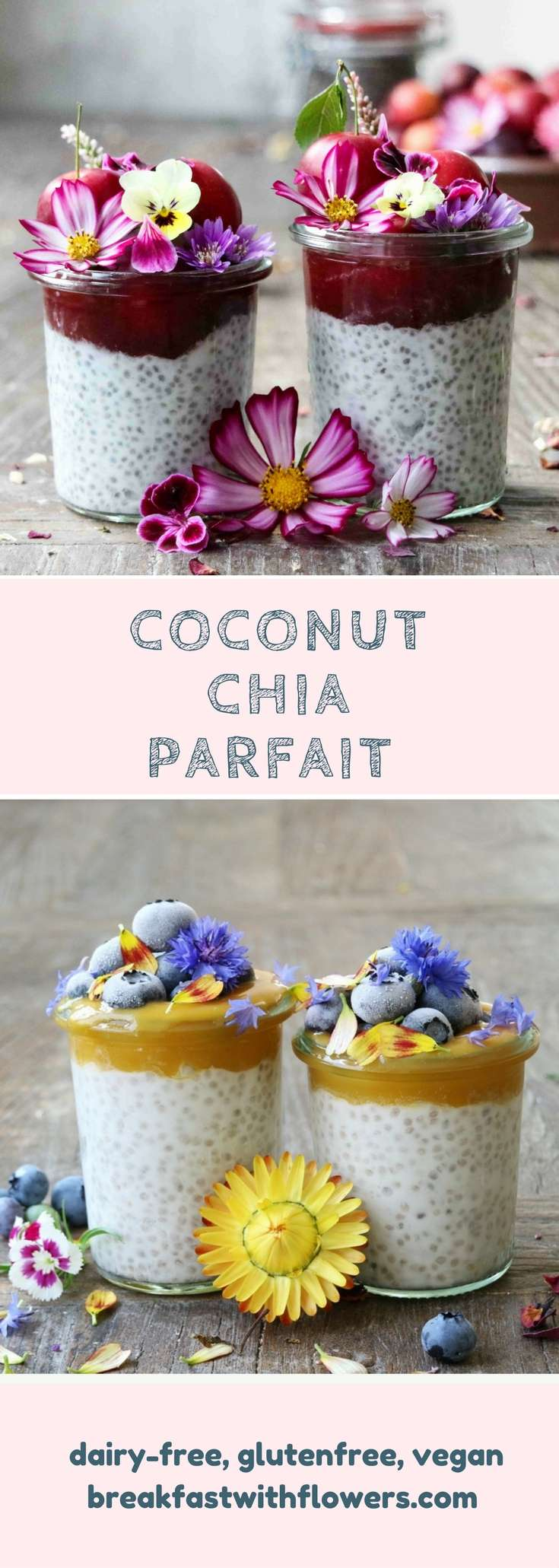 Coconut Chia Parfait two different ways. This recipe is gluten-free and vegan. Visit me on www.breakfastwithflowers.com
